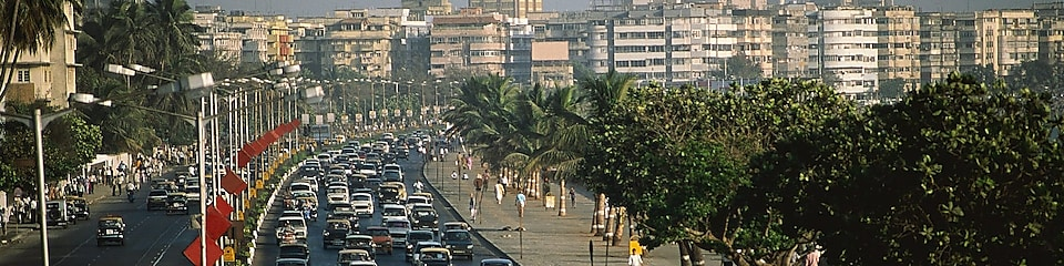 Traffic jam on Marine Drive in Bombay, India