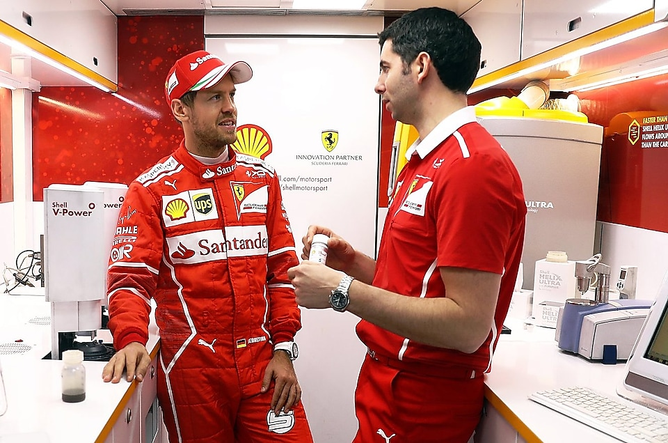 Sebastian Vettel of Germany with Shell's Guy Lovett in the Shell Track Lab during the Shell & Ferrari Filming Day at Circuit de Catalunya on 5th March, 2017 in Montmelo, Spain